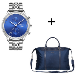 Gift Set: [46mm] Blue & Silver Worley Chronograph M + Navy Blue Duffel