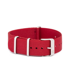 Women's 20mm Red Canvas Nato Watch Strap w/ Silver Accents