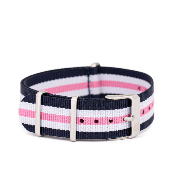 [Women's] Navy/Pink/White Stripe Canvas Nato Watch Strap w/ Silver Accents