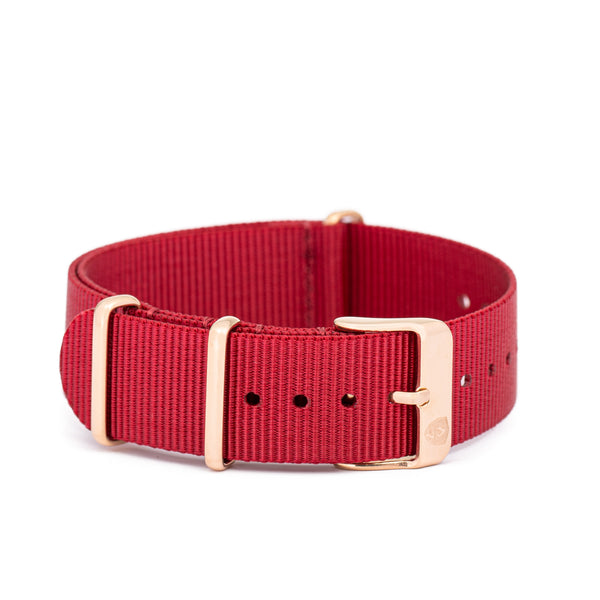 [Women's] Red Canvas Nato Watch Strap w/ Rose Gold Accents