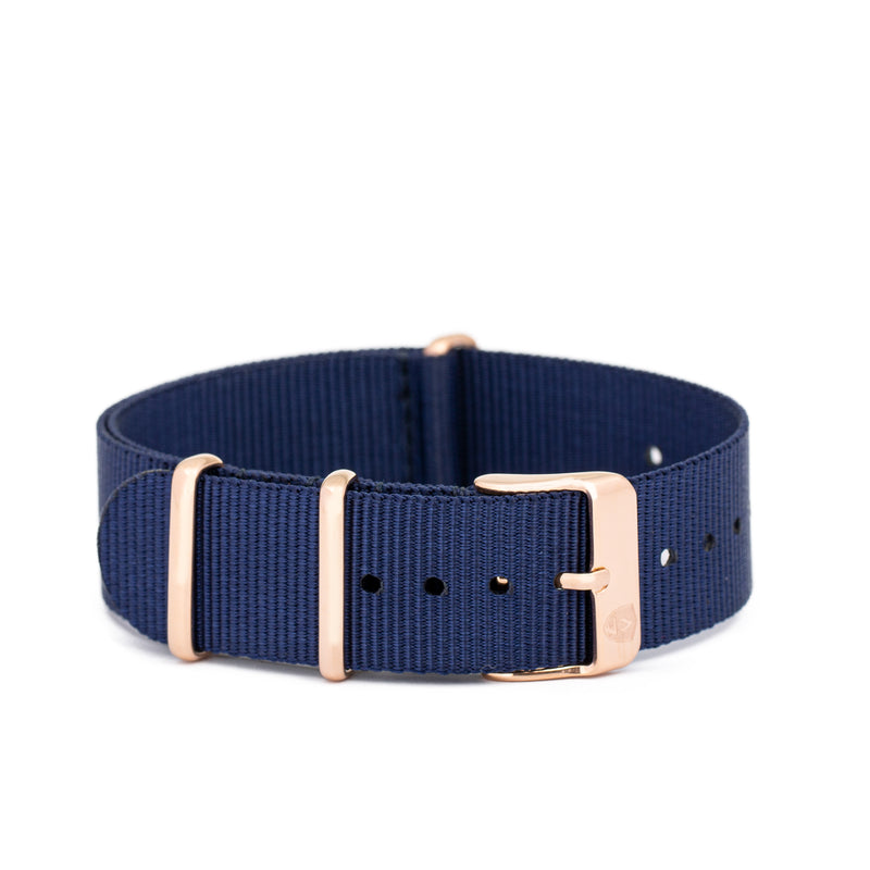 Women's 20mm Navy Canvas Nato Watch Strap w/ Rose Gold Accents