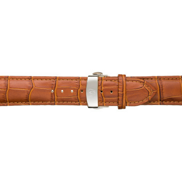 22mm Men's Tan Calfskin Leather Watch Band w/ Silver Accent