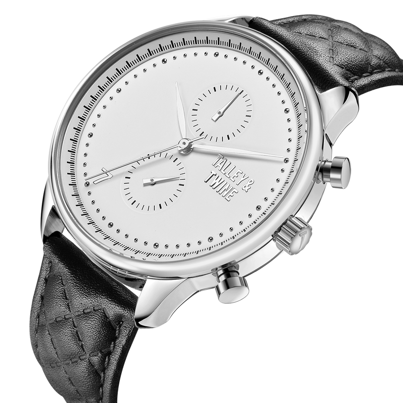 [WOMEN'S 41mm] Silver Worley Chronograph White - Black Leather