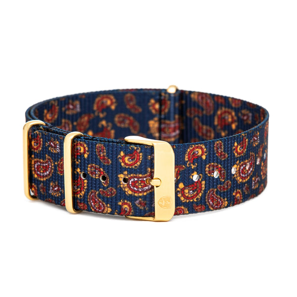 Men's 22mm Paisley Canvas Nato Watch Strap w/ Gold Accents
