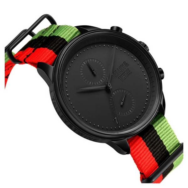 "**PRE-ORDER! SHIPPING BY OCTOBER 15TH!** 46mm Men's Worley Chronograph Black w/ ""Juneteenth"" Canvas Band - Red/Black/Green"