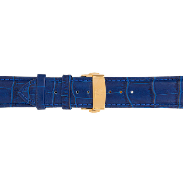 22mm Men's Blue Calfskin Leather Watch Band w/ Gold Accent