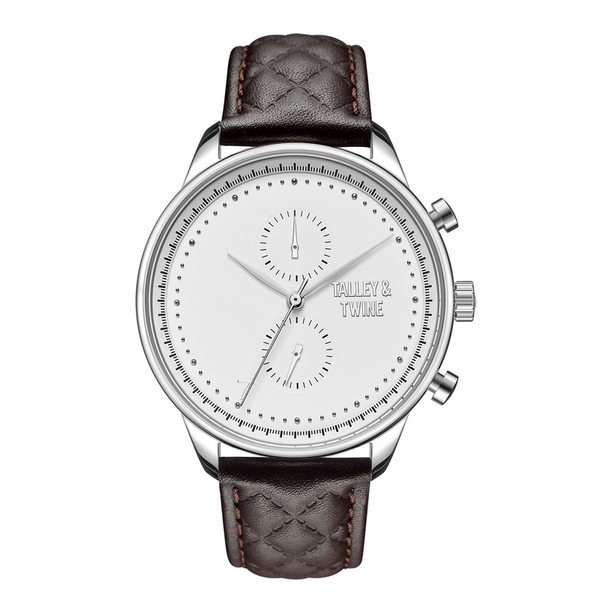 [WOMEN'S 41mm] Silver & White Worley Chronograph - Dark Brown Leather