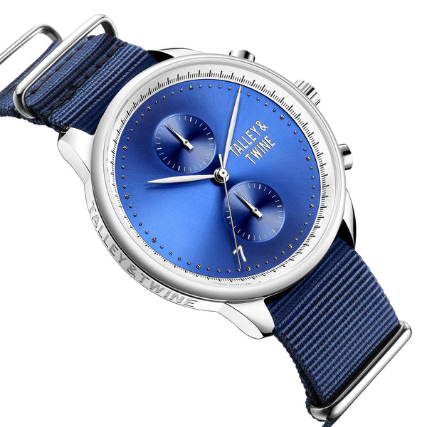 **PRE-ORDER! SHIPPING BY OCTOBER 15TH!** 46mm Men's Worley Chronograph Silver & Blue w/ Navy Canvas Band