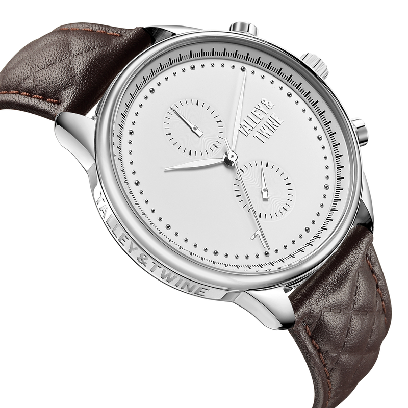 [WOMEN'S 41mm] Silver Worley Chronograph White Face - Dark Brown Leather