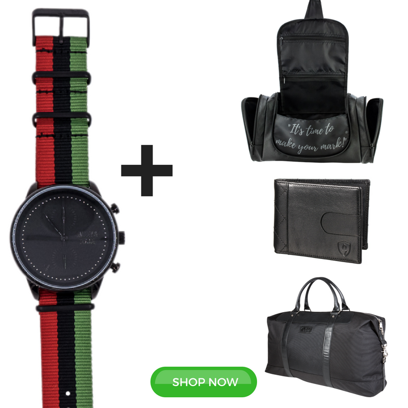 JUNETEENTH FOUR PIECE GIFT SET: Black Worley Chronograph RBG + Duffel + Wallet + Toiletry
