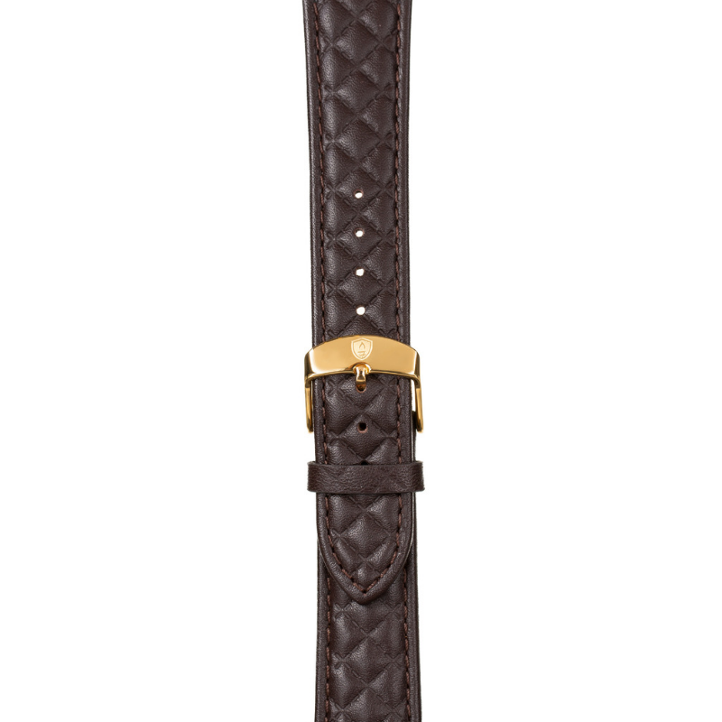 20mm Women's Dark Brown Leather Band w/ Gold Accent