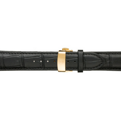 Black Calfskin Leather Watch Band w/ Gold Accents