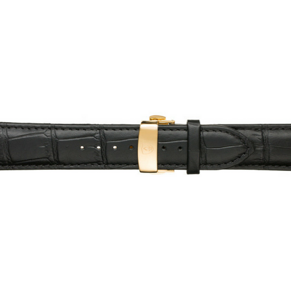 22mm Men's Black Calfskin Leather Watch Band w/ Gold Accents