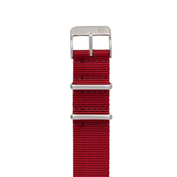 20mm Women's Red Canvas Nato Watch Band w/ Silver Accent