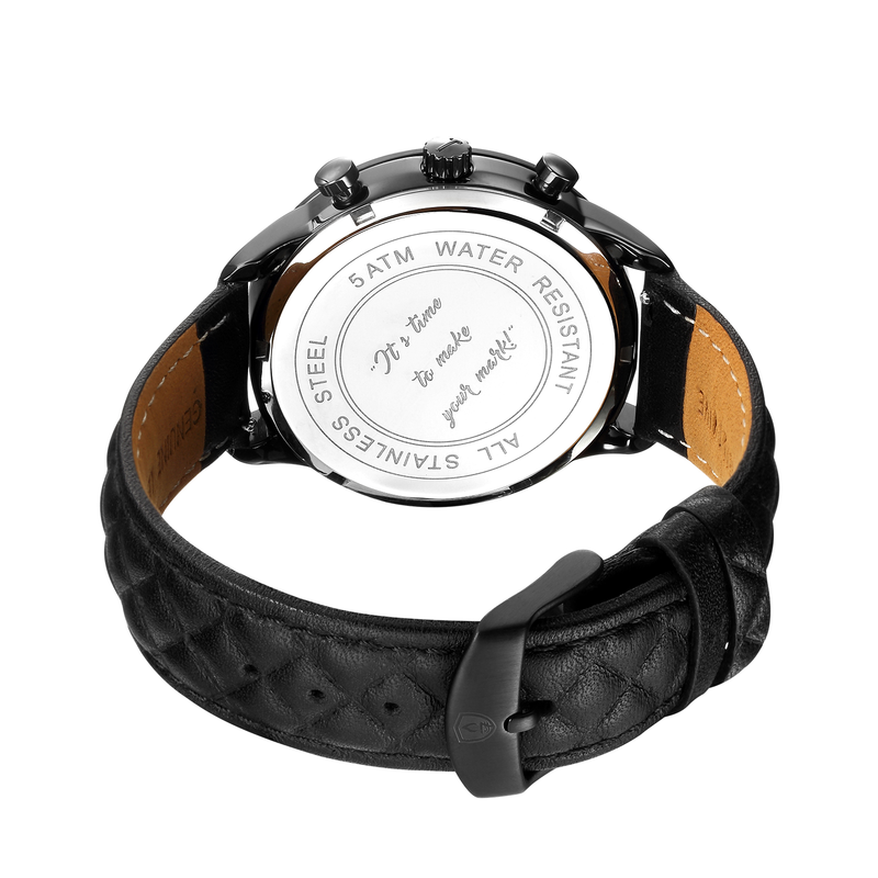 **PRE-ORDER! SHIPPING BY OCTOBER 15TH!** 41mm Women's Worley Chronograph Black w/ Black Leather Band