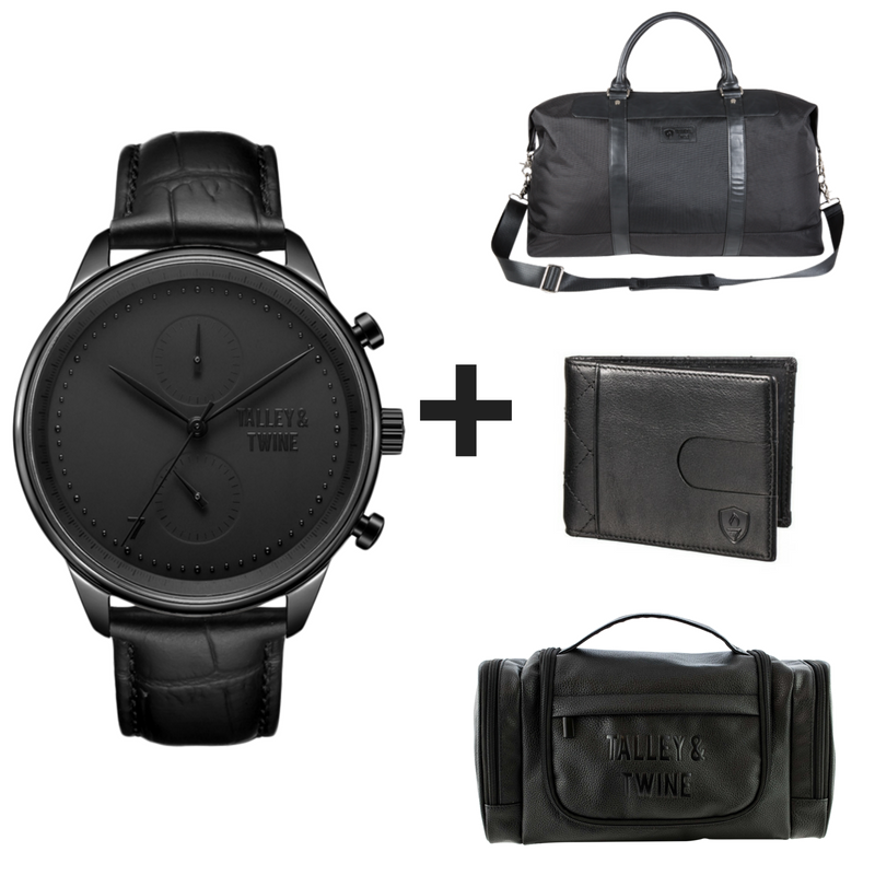 4-PIECE GIFT SET: Black Worley Chronograph Black Leather + Duffel + Wallet + Toiletry