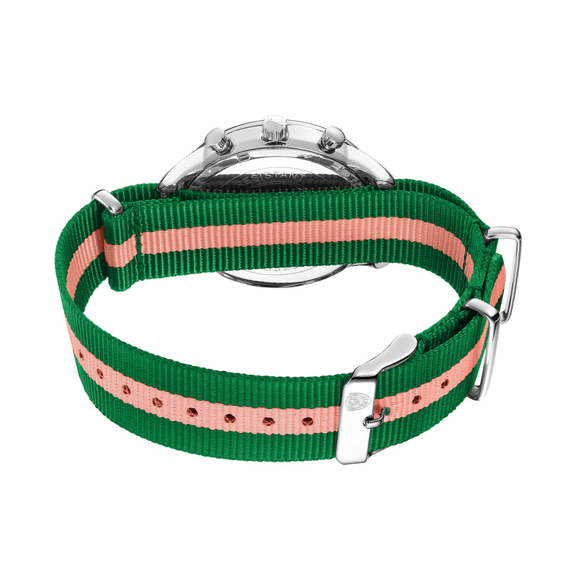 White & Silver - Pink & Green Canvas Band