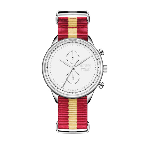 White & Silver - Red & Cream Canvas Band