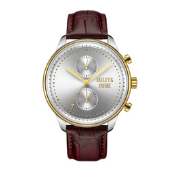 [46mm] Silver & Gold Worley Chronograph - Oxblood Leather