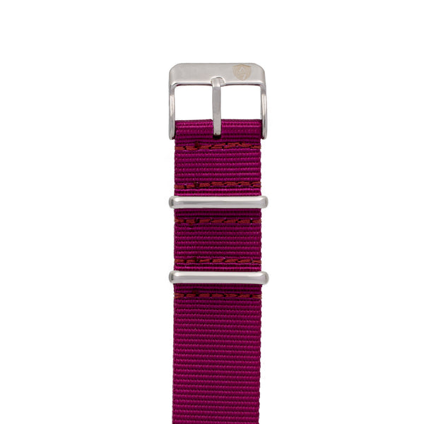20mm Women's Plum Canvas Nato Watch Band w/ Silver Accent