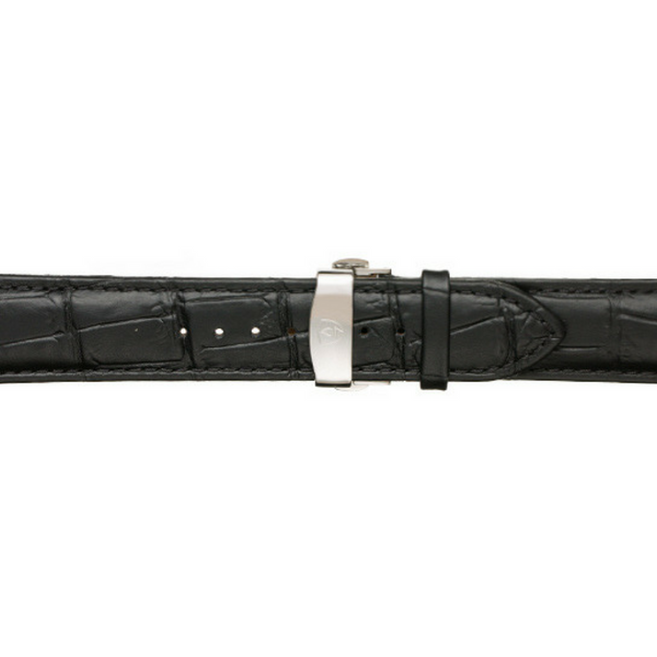 22mm Men's Black Calfskin Leather Watch Band w/ Silver Accent