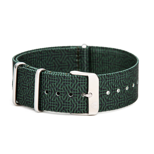 22mm Men's Green Canvas Nato Watch Band w/ Silver Accent
