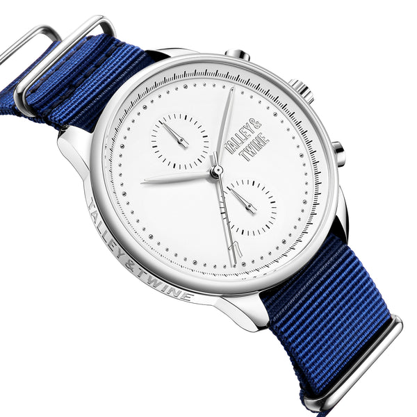 **PRE-ORDER! SHIPPING BY OCTOBER 15TH!** 46mm Men's Worley Chronograph Silver & White w/ Navy Canvas Band