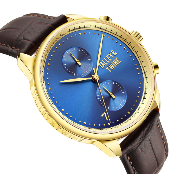 **PRE-ORDER & SAVE! SHIPPING BY JUNE 15TH!** 46mm Men's Worley Chronograph Gold & Blue w/ Dark Brown Leather Band