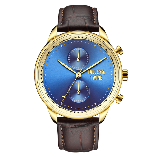 [46mm] Gold & Blue Worley Chronograph - Brown Leather w Gold Accents