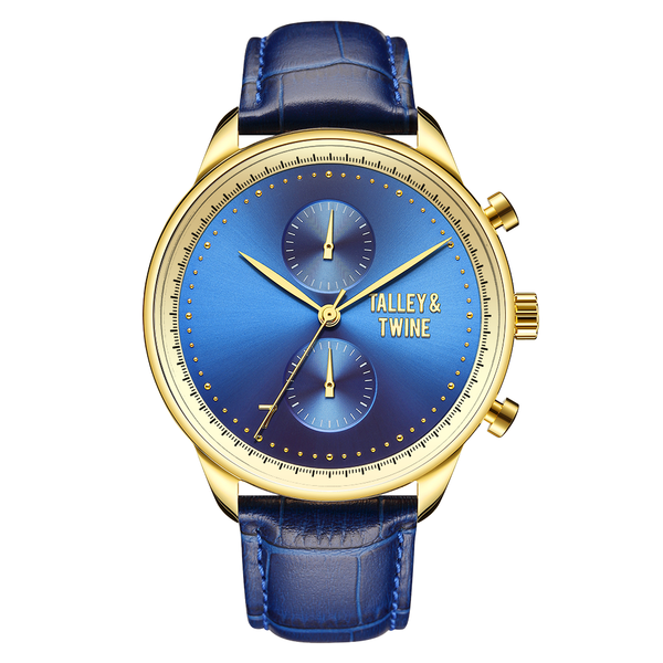 **PRE-ORDER & SAVE! SHIPPING BY JUNE 15TH!** 46mm Men's Worley Chronograph Gold & Blue w/ Blue Leather Band