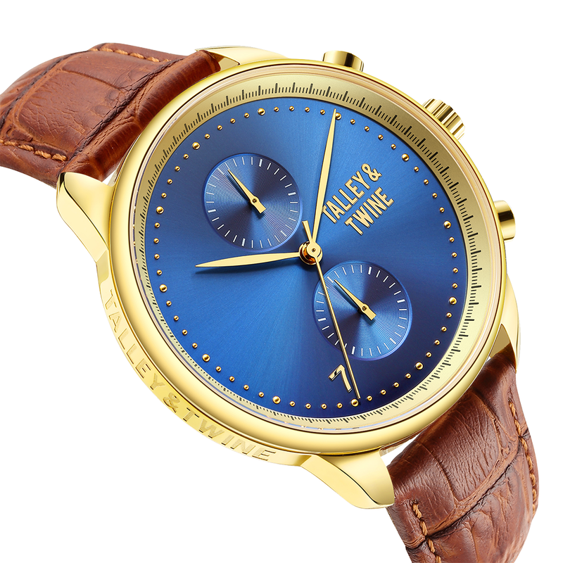 [46mm] Gold & Blue Worley Chronograph - Tan Leather w Gold Accents