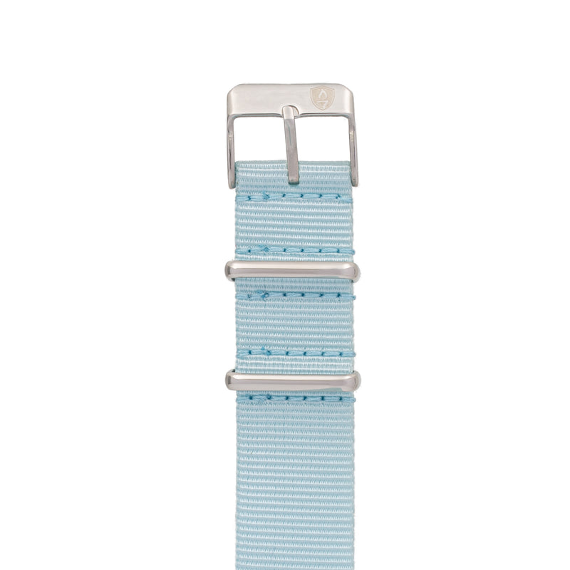 Women's 20mm Light Blue Canvas Nato Watch Strap with Silver Accents