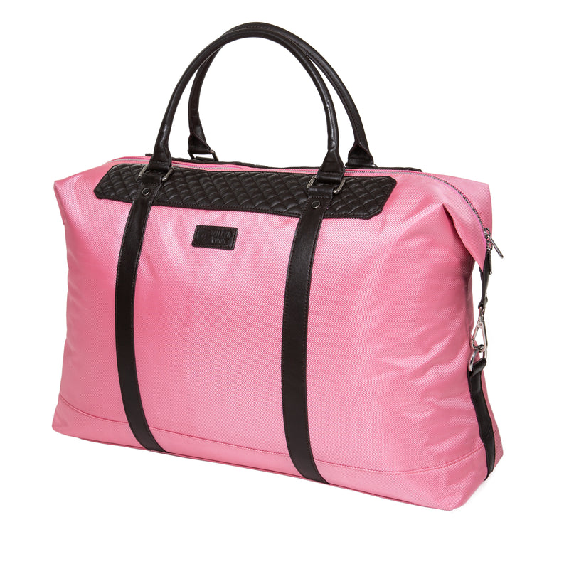 "22"" Dean Duffel Bag - Dark Brown Leather & Pink Canvas"
