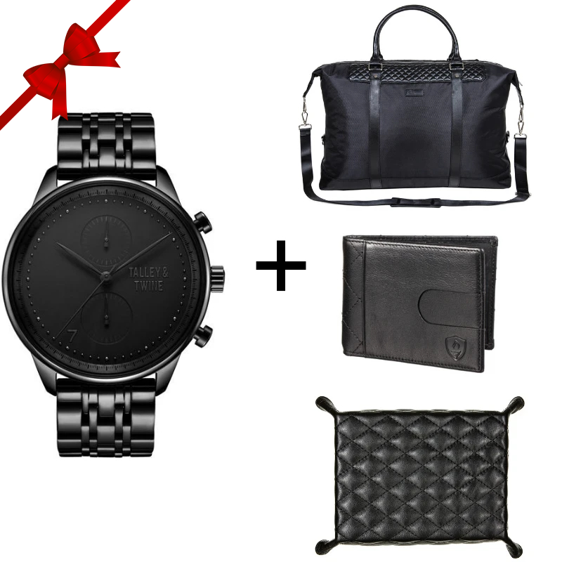 4-Piece Gift Set: [46mm] Black Worley Chronograph Watch+ Duffel + Wallet + Valet Tray