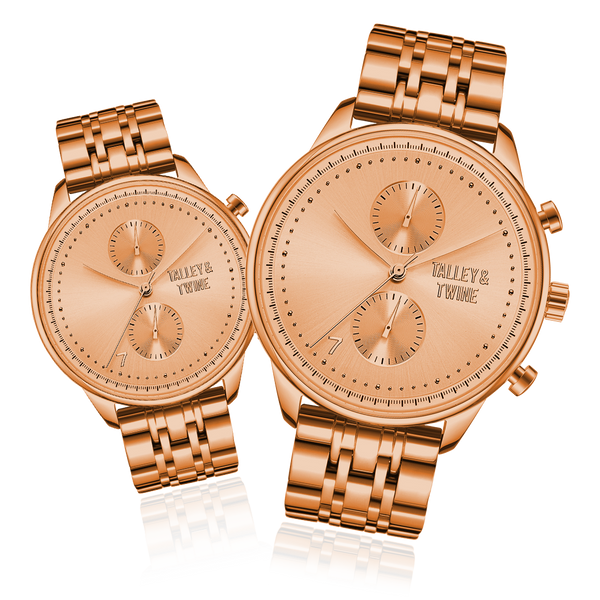 **PRE-ORDER & SAVE! SHIPPING BY JUNE 15TH!** HIS & HER GIFT SET: 46mm + 41mm Worley Chronograph M - Rose Gold