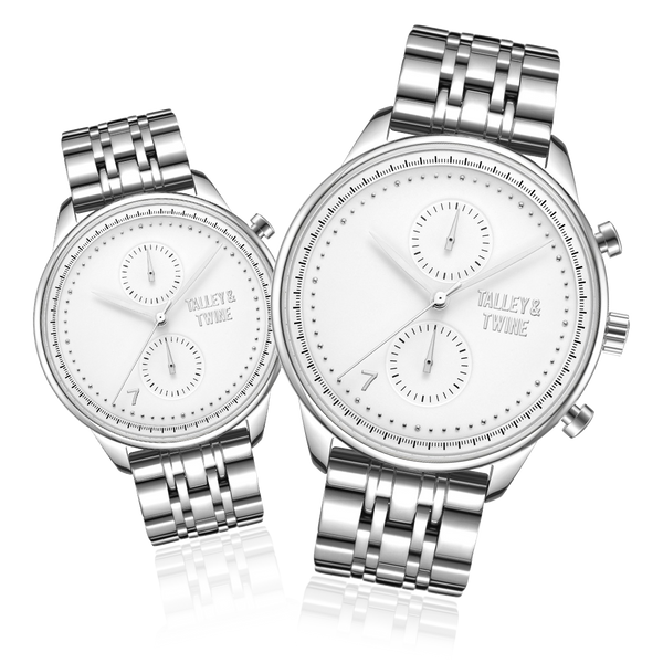 **PRE-ORDER & SAVE! SHIPPING BY JUNE 15TH!** His & Her Gift Set: 46mm + 41mm Worley Chronograph M - Silver & White