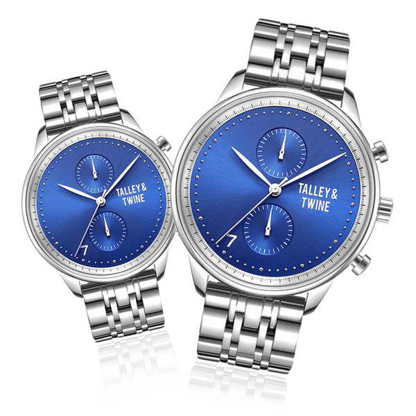 **PRE-ORDER! SHIPPING BY OCTOBER 15TH!** HIS & HER GIFT SET: Blue & Silver Metal