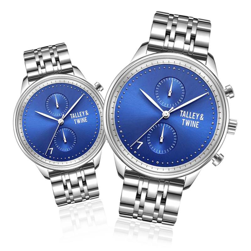 **PRE-ORDER & SAVE! SHIPPING BY JUNE 15TH!** HIS & HER GIFT SET: 46mm + 41mm Worley Chronograph M - Silver & Blue