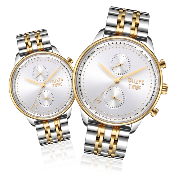 **PRE-ORDER! SHIPPING BY OCTOBER 15TH!** His & Her Gift Set: 46mm + 41mm Worley Chronograph M - Silver & Gold