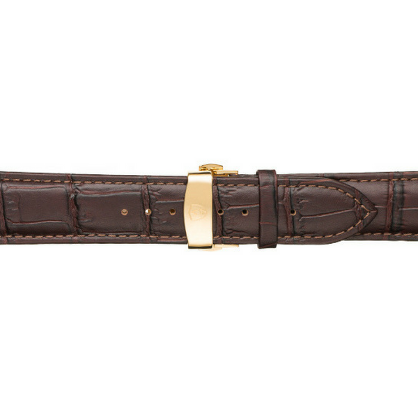 22mm Men's Dark Brown Calfskin Leather Watch Band w/ Gold Accent