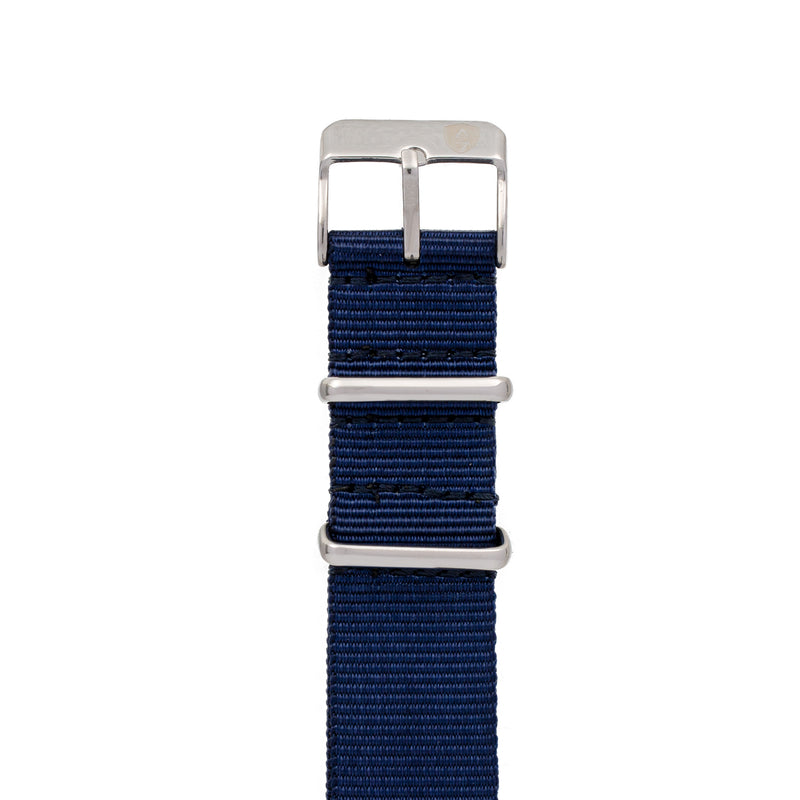 20mm Women's Navy Canvas Nato Watch Band w/ Silver Accent