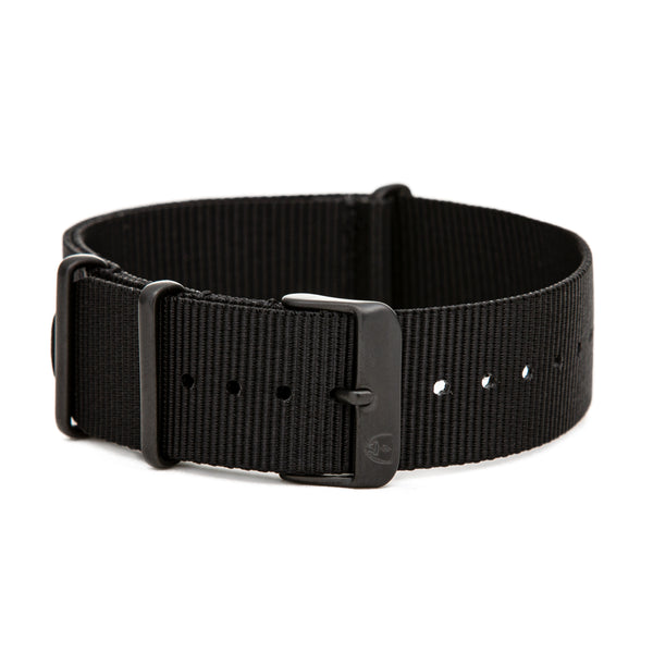 20mm Women's Black Canvas Nato Watch Band w/ Black Accent
