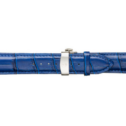 Men's Blue Calfskin Leather Watch Band w/ Silver Accents