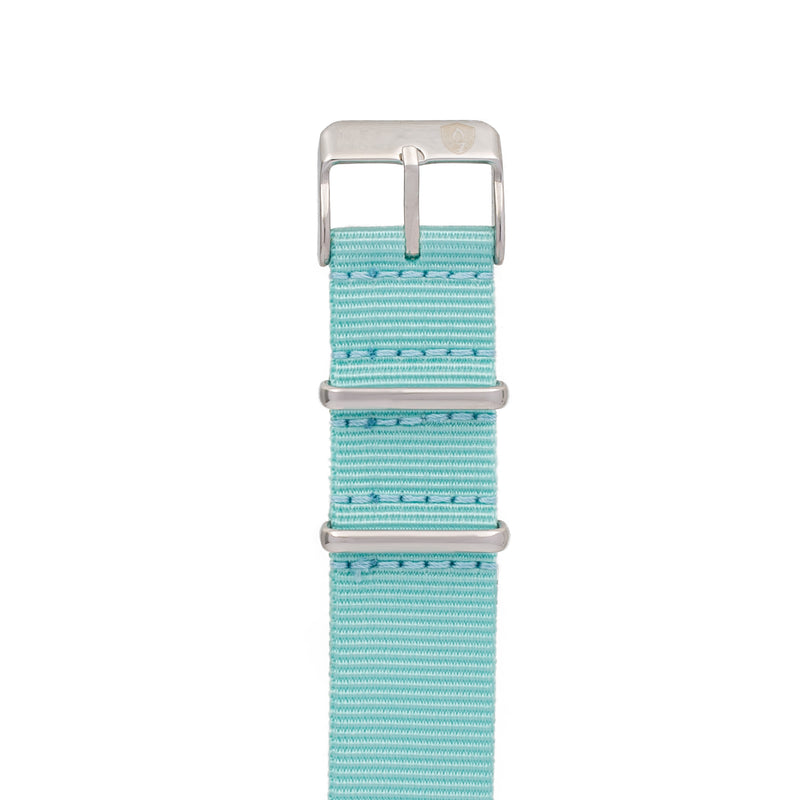 20mm Women's Aqua Canvas Nato Watch Band w/ Silver Accent