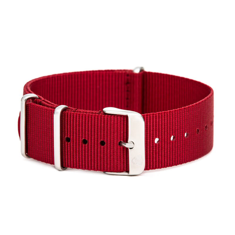 22mm Men's Red Canvas Nato Watch Band w/ Silver Accent