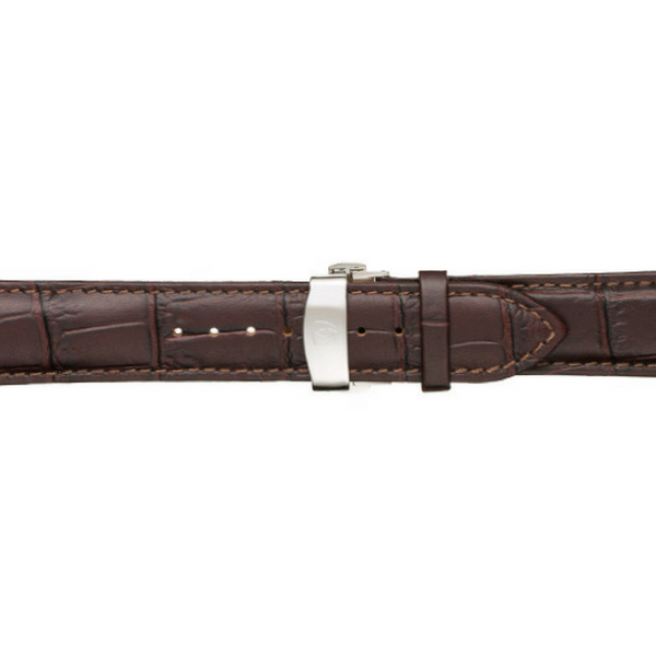 22mm Men's Dark Brown Calfskin Leather Watch Band w/ Silver Accent