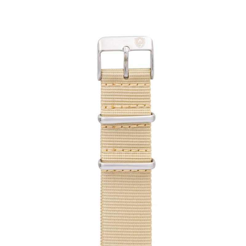 Women's 20mm Tan Canvas Nato Watch Strap w/ Silver Accents