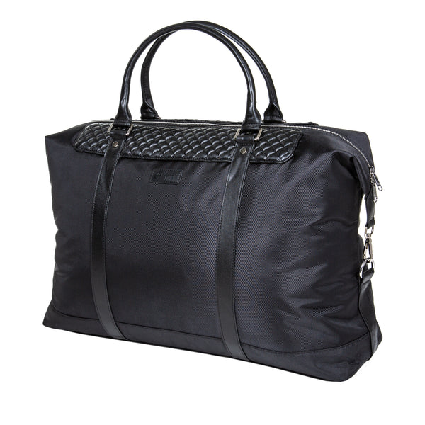 "22"" Dean Duffel Bag - Black Calfskin Leather & Black Canvas"