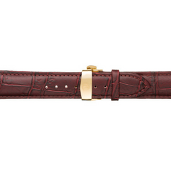 Oxblood Calfskin Leather Watch Band w/ Gold Accents