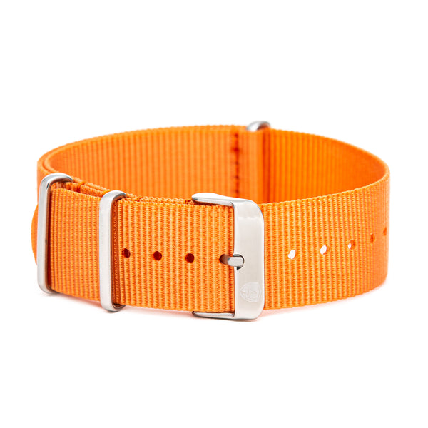 Men's 22mm Orange Canvas Nato Watch Strap w/ Silver Accents